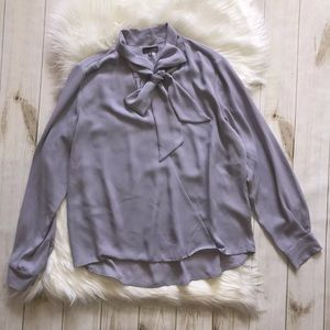 Vince Camuto Faux Wrap Blouse Pussy Bow Tie Lilac